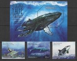 Malaysia (2015) - Set + Block -  /  Baleines - Ballenas - Whales - UNUSUAL Silver Print - Walvissen