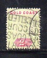 APR348 - GOLD COAST 1889 , 2 Sh Yvert N. 29  Usato  (2380A) Dent 14 Fil CA - Costa D'Oro (...-1957)