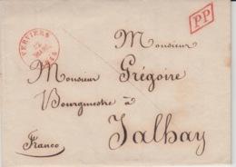 BELGIUM USED COVER 22 MARS 1844 VERVIERS JALHAY FRANCO GREGOIRE PP - 1830-1849 (Belgique Indépendante)