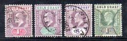 APR352 - GOLD COAST 1902 , 4 Valori Usati  (2380A)  Fil CA - Costa D'Oro (...-1957)