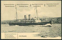 Belgium 10c Carte Postale Stationery Postcard. Ostend Dover Paquebot Ferry JAN BREYDEL - Stamped Stationery