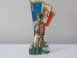 Soldat Drapeau Relief Métal Waterloo Cacciatore R.GTO Cacciatori A Cavallo Guardia Imperiale Francia France - Uniformes