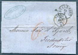 1864 Belgium Gand Ghent Entire - Fredrikstad  Norway Via Svinesund Sweden Hamburg - Postmark Collection