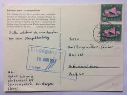 SWITZERLAND 1961 Postcard Tied With Pro Patria - Aargau To Kriensen Germany With Eingegangen Cachet - Covers & Documents