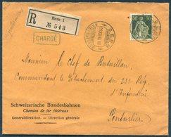 1913 Bern Registered Charge Bundesbahn Cover - 23rd Infantry Regiment, Pontarlier France. 1914 Exposition Vignette - Switzerland