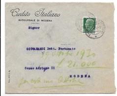 Perfin - Lettera Affrancata Con Un Francobollo Perforato C. I. - 1900-44 Vittorio Emanuele III