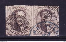 België 1861 Nr 10 In Paar G Nr 24( Brussel ), Lot Krt 3465 - Timbres