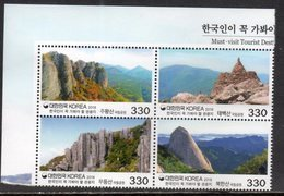 SOUTH KOREA, 2018, MNH, TOURISM, MUST-SEE DESTINATIONS  MOUNTAINS, LANDSCAPES, 4v SPECIAL PRINTING ON STAMP SURFACE - Holidays & Tourism