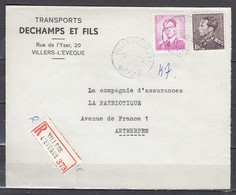 Aangetekend Briefstuk Van Villers-L'Eveque Naar Antwerpen - 1936-1951 Poortman