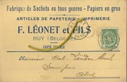 Huy : F. Léonet Et Fils : Fabrique De Sachets En Tous Genres - Papiers En Gros  1910    (  2 Scans ) - Huy