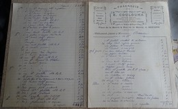 Facture Ancienne -pharmacie E Coulouma - Béziers 1918 (double Page) - France