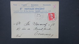 Gandon N° 822 Taille Douce 15 Fr Rouge Seul Sur Lettre Juin 1949 De Belfort Pour Tourcoing - 1921-1960: Moderne