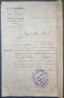 GE Lebanon 1946 Document From COUR D'APPEL CHAMBRE MIXTE BEYROUTH - Nice H/stamp - Líbano