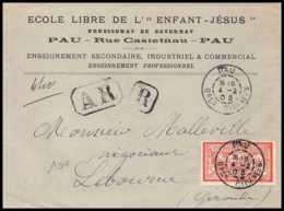 9168 Entete Ecole Libre De L'enfant Jesus 1903 N°119 Merson 40c Pay Pyrennees Libourne France Lettre Recommande Cover - Marcophilie (Lettres)