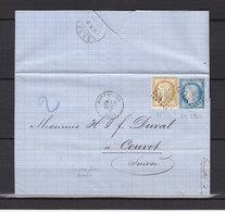 FRANCE 55+60 OBL PONTARLIER CACHET 16 POUR COUVET SUISSE - Postmark Collection (Covers)