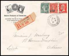 9197 Entete Timbrologie N°178 Pasteur Exp Strasbourg 1927 Orleans Affranchissement Compose France Lettre Recommande - Marcophilie (Lettres)
