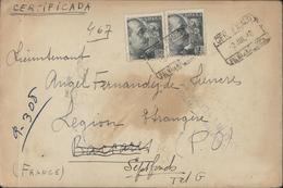 Guerre 40 Recommandé CAD Certificado 2 Juil 40 Pr Lieutenant Légion Camp Barcarès Puis Septfond Censura Militar Palma - Marcophilie (Lettres)