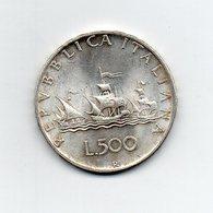 """ITALIA - 1958 - 500 Lire """"Caravelle"""" - Argento 835 - Peso 11 Grammi - (MW2199) - 1946-… : Repubblica"""
