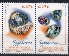 TAAF ,  FRENCH ANTARCTIC, 2019, MNH,MINERALS, SAPPHIRES,2v, EMBOSSED - Minerals