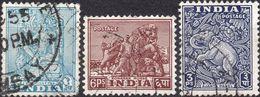 INDIA 1949 - BODHISATTVA + CAVALLO DI KONARAK + ELEFANTE DIAYANTA - 3 VALORI USATI - 1947-49 Dominion