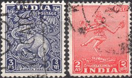 INDIA 1949 - ELEFANTE DIAYANTA + NATARAYA - 2 VALORI USATI - 1947-49 Dominion