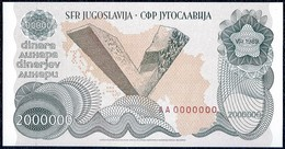 Yugoslavia, 2000000 Dinara 1989 Unc Specimen Zero Number Rare - Yugoslavia