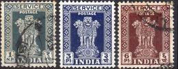INDIA 1950 - PILASTRI DI ASHOKA - 3 VALORI USATI - 1950-59 Repubblica