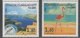 TURKEY, 2017, MNH, NATURE RESERVES, FISH, BIRDS, FLAMINGO, MOUNTAINS, 2v - Flamingo