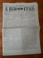 """1861 2 COPIE GIORNALE """" IL REGNO DI ITALIA """" - MILANO - STAMPATI FRANCHI C1 - Storia Postale"""