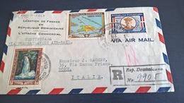 STORIA POSTALE DOMINICANA 1947 VIA TRANSATLANTICO - ANNULLI MIAMI WASHINGTON ROMA - Repubblica Domenicana