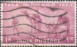 INDIA 1954 - CENTENARIO POSTE INDIANE - 1 VALORE USATO - 1950-59 Repubblica