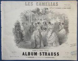 CAF CONC DANCE PIANO GF PARTITION XIX ALBUM-STRAUSS LES CAMÉLIAS REDOWA DANSE ILL JANET ESTERHAZY ROHAN CHABOT 1850 - Musique & Instruments