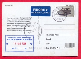 SOUTH SUDAN 2018 Postcrossing Advertisement Postcard Received At Juba Post Office From Germany Südsudan Soudan Du Sud - Südsudan