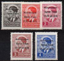 MONTENEGRO : B033  -  1941 Italian Occup. : 5 MNH Pieces  -  Sassone 75 - Montenegro