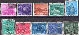 INDIA 1955 - PIANO QUINQUENNALE - 10 VALORI USATI - 1950-59 Repubblica