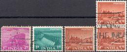 INDIA 1955 - PIANO QUINQUENNALE - 5 VALORI USATI - 1950-59 Repubblica