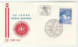 1974 Special FDC RADIO TELEGRAPH ANNIV  Cover Telecom AUSTRIA Stamps Broadcasting - FDC