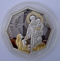 COOK ISLANDS 5 $ 2010 ARGENTO PROOF 999 SILVER+GOLD+SWAROVSKI SAINT ANTHONY SANT ANTONIO 13 GIUGNO PESO 25g. TITOLO 0,99 - Isole Cook