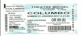 Ticket D'entrée Paris Théâtre Michel COLOMBO Avec Martin Lamotte - 2017 - Tickets - Entradas
