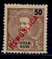 ! ! Inhambane - 1917 D. Carlos Local Republica 50 R - Af. 93 - MH - Inhambane