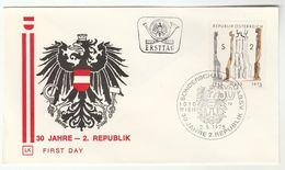 1975 Special FDC AUSTRIA REPUBLIC 30th ANNIV Cover Stamps Heraldic - Enveloppes