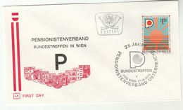 1975 AUSTRIA Special FDC PENSIONER ASSOCIATION Cover Stamps Heraldic - FDC