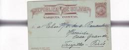REPUBLICA DE BOLIVIA TARJETA VIAJADA- ENTERO POSTAL ENTIER POSTAL STATIONERY 1900s - BLEUP - Bolivie