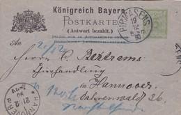 KONIGREICH BAYERN POSTKARTE CIRCULEE PIRMASENS A HANNOVER 1890- ENTERO POSTAL ENTIER POSTAL STATIONERY - BLEUP - Deutschland