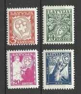 LETTLAND Latvia 1936 Michel 242 - 245 * Incl 2 Stamps With Inverted Watermark! - Lettland