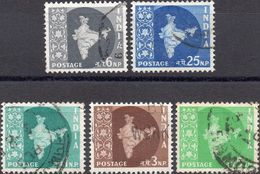 INDIA 1957 - MAPPA DELL'INDIA - 5 VALORI USATI - 1950-59 Repubblica