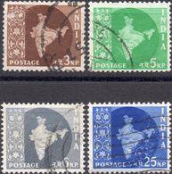 INDIA 1957 - MAPPA DELL'INDIA - 4 VALORI USATI - 1950-59 Repubblica