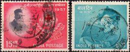 INDIA 1957 - CONFERENZA CROCE ROSSA + GIORNATA DEI BAMBINI - 2 VALORI USATI - 1950-59 Repubblica