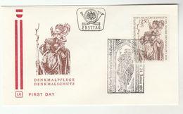 1975 Special FDC SCULPTURE ST GABRIEL MONUMENT PRESERVATION AUSTRIA Stamps Cover Art Religion - Sculpture