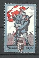 Denmark 1914 Reklamemarke Vignette Propagandamarke Soldat MIlitär Flag Flagge * - 1913-47 (Christian X)